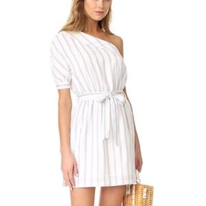 Striped White and Blue One Shoulder Belted Dress